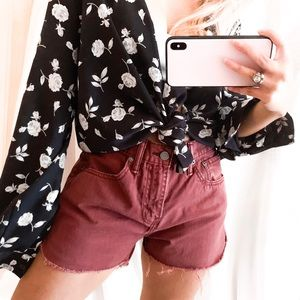 Levi's rustic red curved cut off shorts